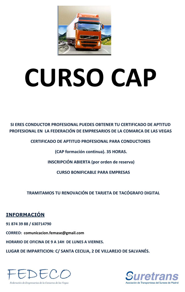 Cartel Curso CAP ultimas plazas